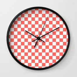 Small Checkered - White and Pastel Red Wall Clock