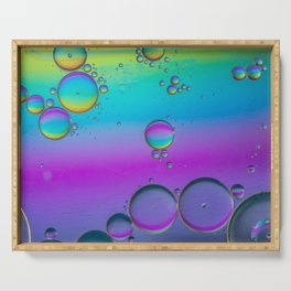Oil drops in water. Abstract psychedelic pattern image multicolored. Abstract background Serving Tray