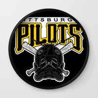 pittsburgh Wall Clocks featuring Pittsburgh Pilots by Ant Atomic