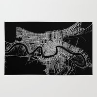 new orleans Area & Throw Rugs featuring New Orleans map by Line Line Lines