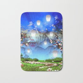 White lanterns with cherry blossom and mountain temple Bath Mat