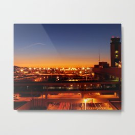 Airport Sunset Time Lapse Metal Print