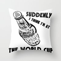 world cup Throw Pillows featuring Suddenly, The World Cup by Bunhugger Design