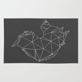 Geometric Wolf (White on Grey) Rug