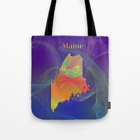 maine Tote Bags featuring Maine Map by Roger Wedegis