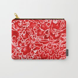 Watercolor Chinoiserie Block Floral Print in Ruby Red Porcelain Tiles Carry-All Pouch