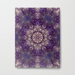 mandala violet and white Metal Print
