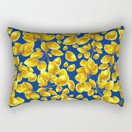 Branch of trembling aspen on deep blue Rectangular Pillow