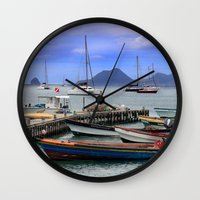 boats Wall Clocks featuring Boats by Jessica Krzywicki