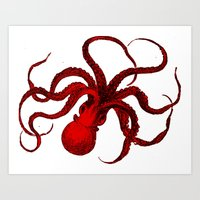 Vintage Red Octopus Art Print