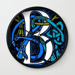 Celtic Peacocks Letter B Wall Clock