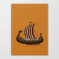 vikings Canvas Prints featuring Vikings by mangulica illustrations