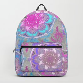 Pink, Purple and Turquoise Super Boho Doodle Medallions Backpack
