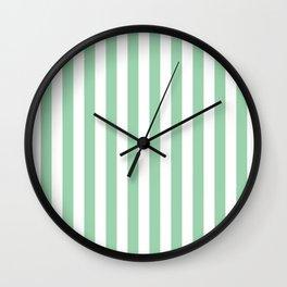 Mint Green Small Even Stripes Wall Clock