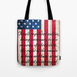 2nd Amendment on American Flag - Vertical Print Tote Bag