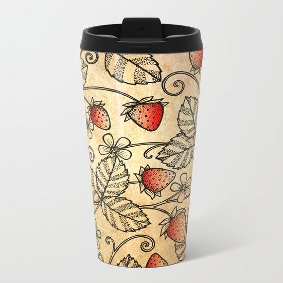 Strawberry Pattern Metal Travel Mug