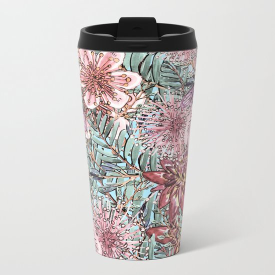 Tropical Pastel Pink Flower Hibiscus Garden on #Society6 Metal Travel Mug