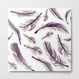 Dusty Amethyst Feathers Metal Print