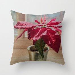 Painted Poinsettia Throw Pillow