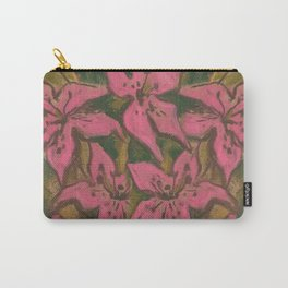 Pink Lilies, pastel painting, floral art, pink & green Carry-All Pouch