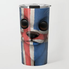 Cute Puppy Dog with flag of Iceland Travel Mug