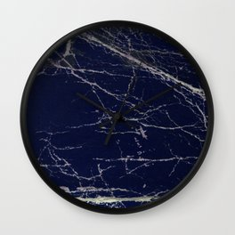 Blue Marble Crease Texture Design Wall Clock