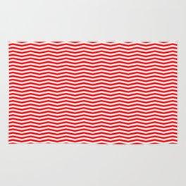 Red and White Christmas Wavy Chevron Stripes Rug