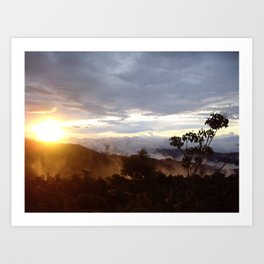 Sunset over the jungle in Costa RIca Art Print