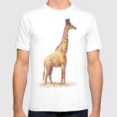 Fashionable Giraffe White Mens Fitted Tee SMALL