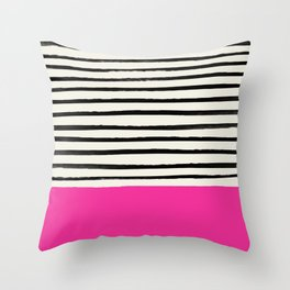 Bright Rose Pink x Stripes Throw Pillow