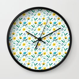 Summer flowers in yellow and blue in white background Wall Clock
