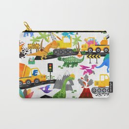 Watercolor Dinosaur Construction Crew Carry-All Pouch