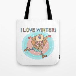 I Love Winter Girl Tote Bag
