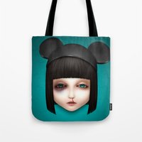abigail larson Tote Bags featuring Misfit - Abigail by Raymond Sepulveda