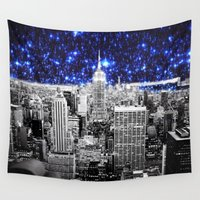 new york city Wall Tapestries featuring new york city. Blue Stars by 2sweet4words Designs
