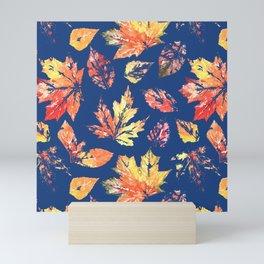 Scattered Leaves Pattern Navy Mini Art Print