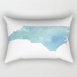 Watercolor State Map - North Carolina NC blue green Rectangular Pillow