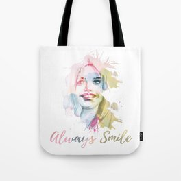 Always smile! Hand-painted portrait of a woman in watercolor. Tote Bag