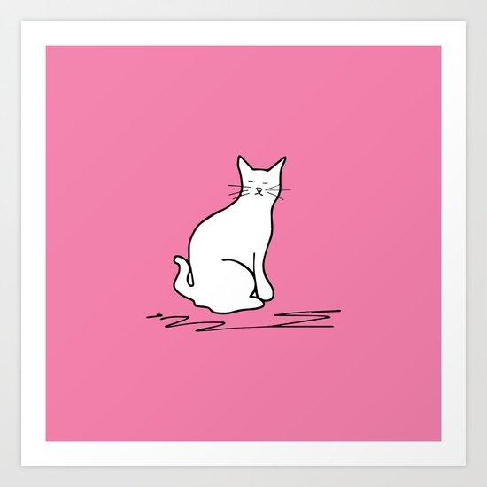 white cat on pink Art Print