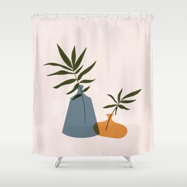 Feminine Abstract Vases Shower Curtain