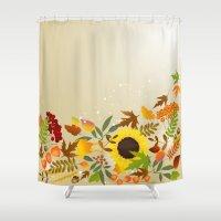 thanksgiving Shower Curtains featuring Golden Thanksgiving by FantasyArtDesigns