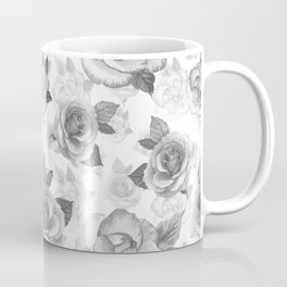 Hand painted black white watercolor roses floral pattern Coffee Mug