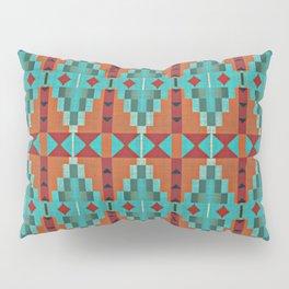 Orange Red Aqua Turquoise Teal Native Mosaic Pattern Pillow Sham
