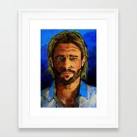brad pitt Framed Art Prints featuring Brad Pitt by Green Diablo