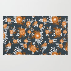 Texas longhorns orange and white university college texan football floral pattern Rug
