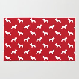 French Bulldog silhouette red and white minimal dog pattern dog breeds Rug
