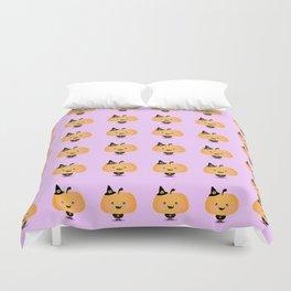 Halloween pumpkin in witch costume Duvet Cover