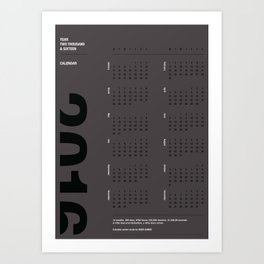 2016 Calendar | Silver Art Print