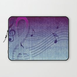 Aqua Purple Ombre Music Notes Laptop Sleeve