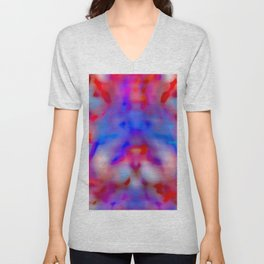 almost mirrored, blue and red Unisex V-Neck